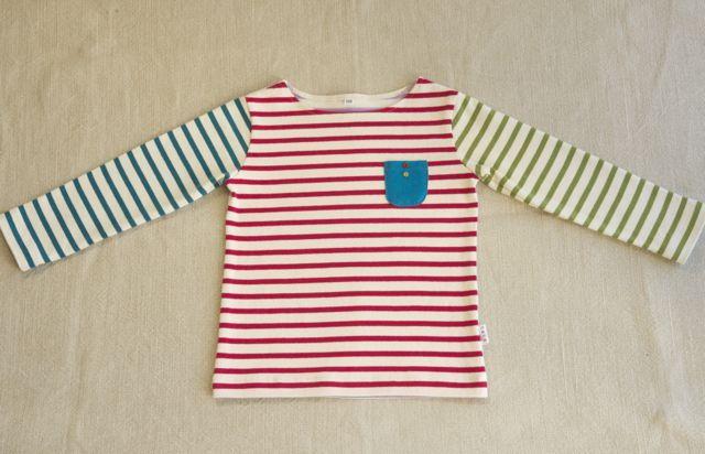 kidsしましまボートネックTシャツ(110)