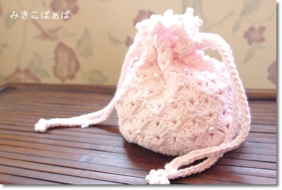 009:巾着型小物入れ*ピンク
