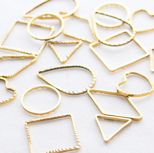 フレームパーツ 【 6種類60個 各10個ゴールド 】枠 三角/ひし形