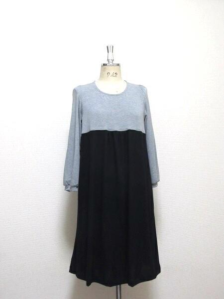 バイカラー☆ふんわりフレアのギャザードレス(八分袖)