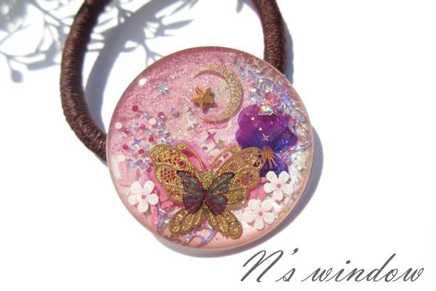 きらめく蝶のヘアゴム