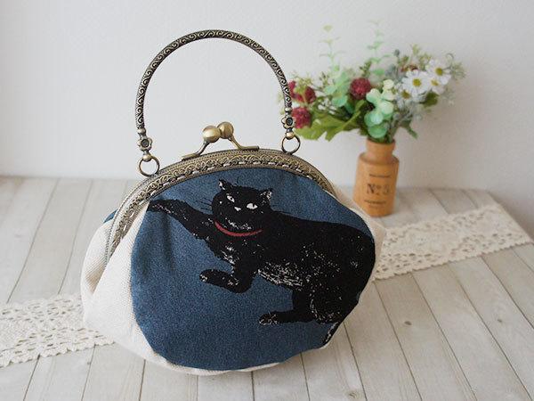 【販売終了】がま口手提げバッグ*気まぐれな黒猫