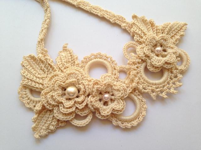 ♪お花モチーフのネックレス レース編みで(サーモンピンク)♪