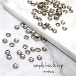 3g)antique silver simple beads cap