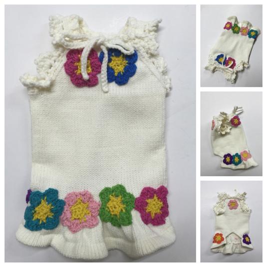 #手編み カラフルモチーフ付ワンピース