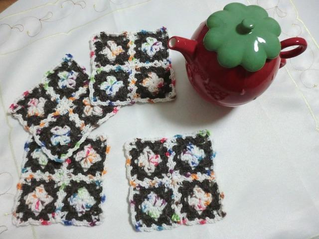 sale!ほっこり手編みのコースター 4枚set