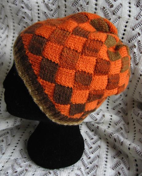 ビーニーキャップ  オレンジ バスケット編み