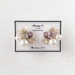 Mix stone *Luminous Beige / Pierce, Earrings