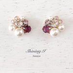 Mix stone *Cyclamen / Pierce, Earrings