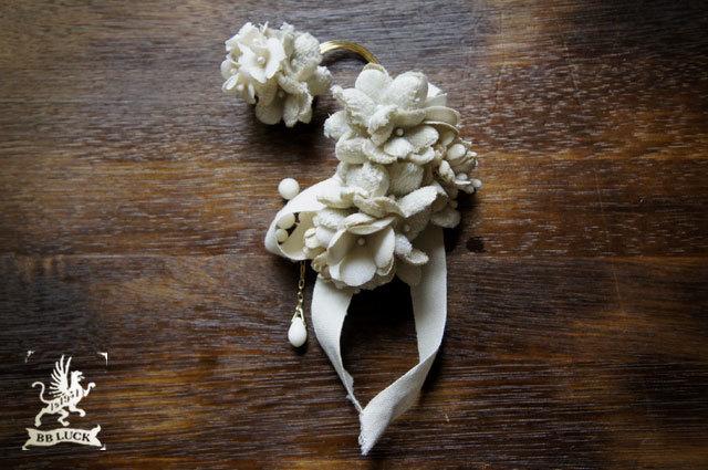 ear hook  【 布花とリボンのイヤーフック 】