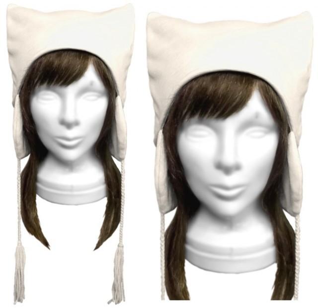 シンプル 耳あて付ネコ耳帽子(ゆったり)◆スラブニット/白系