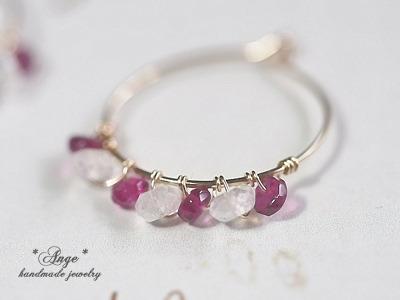 宝石質ピンクトルマリンの小さなフープピアス