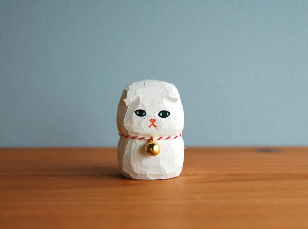 木彫り人形 スコティッシュ 白  [MWF-102]