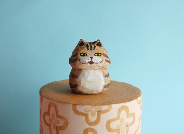 木彫り人形 チェシャネコ 茶シマ  [MWF-033]