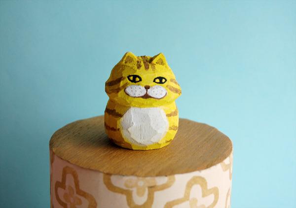 木彫り人形 チェシャネコ 黄色  [MWF-034]