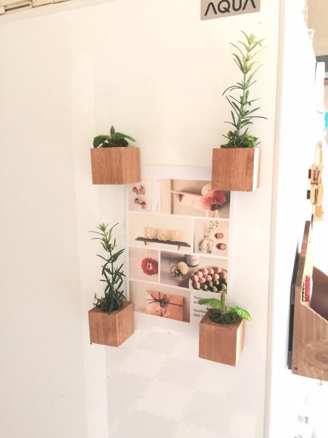 小さな植木鉢マグネット4個セット*ハーブ