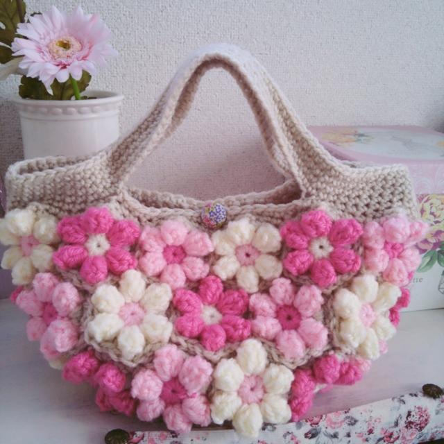 改良版!【受注製作】お花モチーフの手編みバッグ