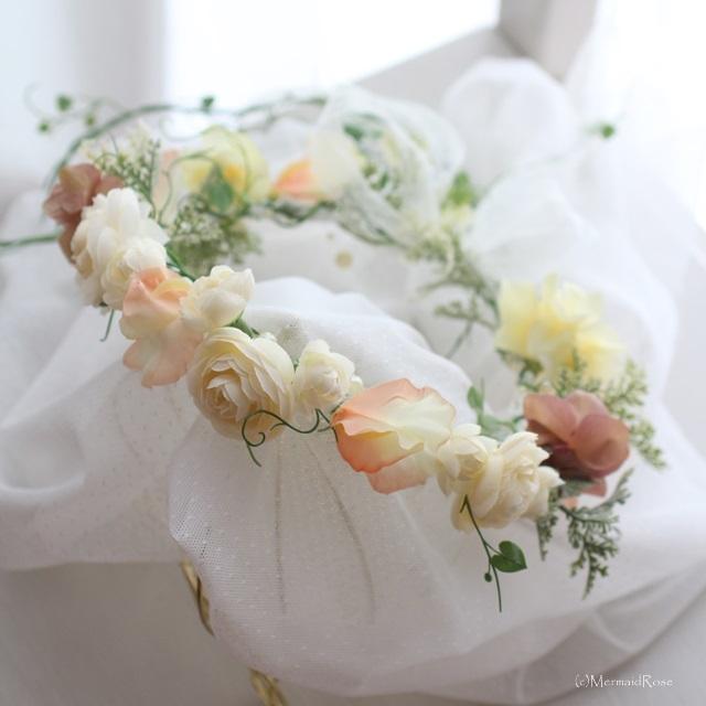 【mako0309様専用】?花冠ラナンキュラス(ホワイト&エクリュ)* バックガーランド付