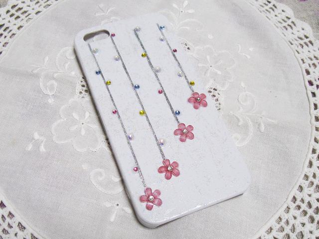 スマホケース☆色を選べるラインとお花