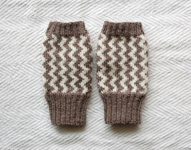 手編みの指なしミトン【GizaGiza】 ブラウン×白