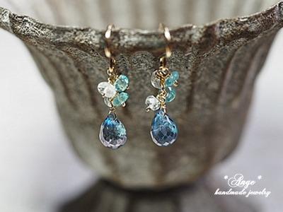 宝石質ブルーミスティックトパーズ&たくさんの天然石のピアス