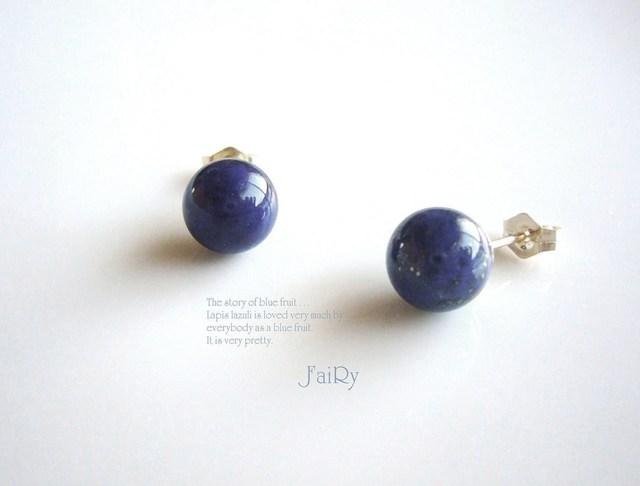 ヒトツブノアオ pierced earring  。. : *