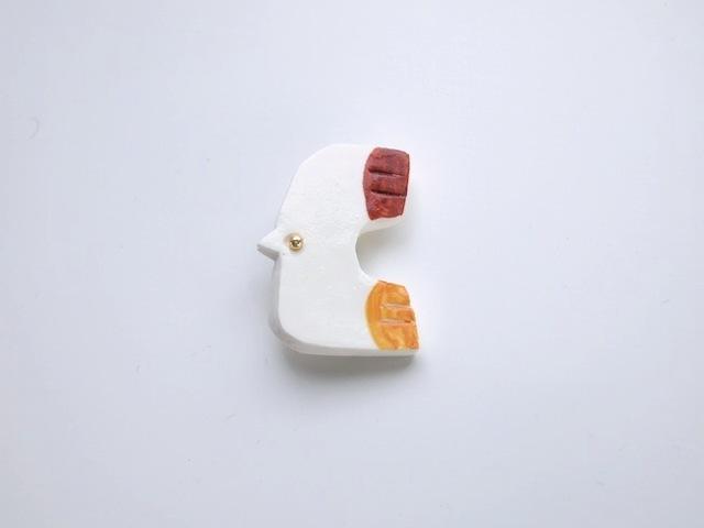 9月:鳥のブローチ(茶×オレンジ)