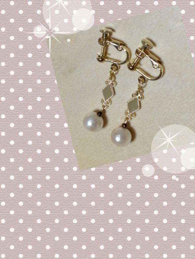 コットンパールとダイヤモチーフのイヤリング(ピアス変更可)