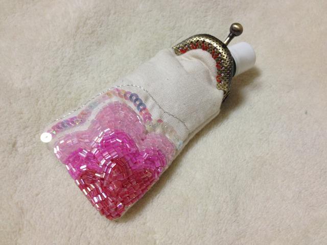 がま口  リップクリームケース  ピンク