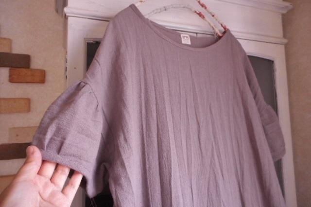 *h様オーダー品*コットンリネン・ローズグレー色の肩落ちパフ袖ロングワンピース
