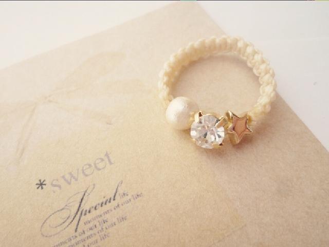 《再々販》キラキラ並んだコットンパールとビジューのtwinkle*ring☆秋冬デザイン