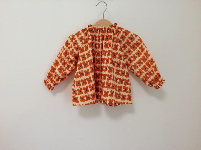 オレンジクローバー柄スモック長袖 サイズ90