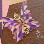 夢紫のステンドグラスの蝶バレッタ(hair ornaments of Stained glass butterfly 〜Flower of dream purple〜)