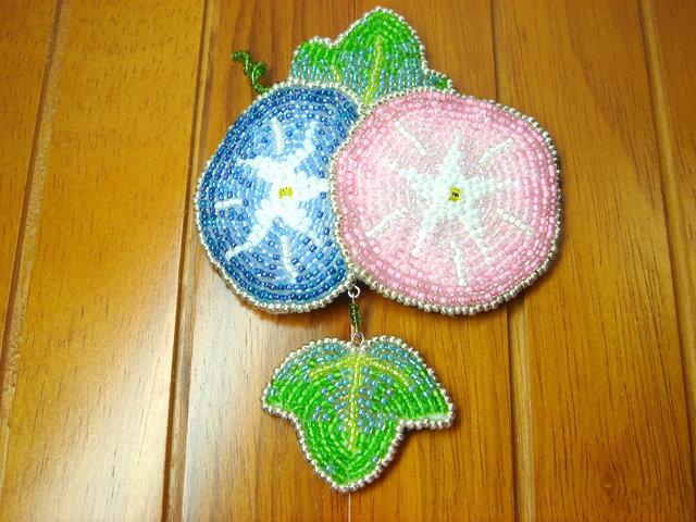 ビーズ刺繍のアサガオヘアピン