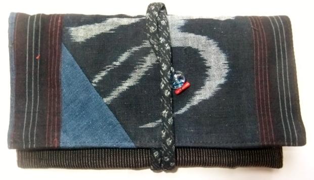 絵絣とめくら縞で作った和風財布 537