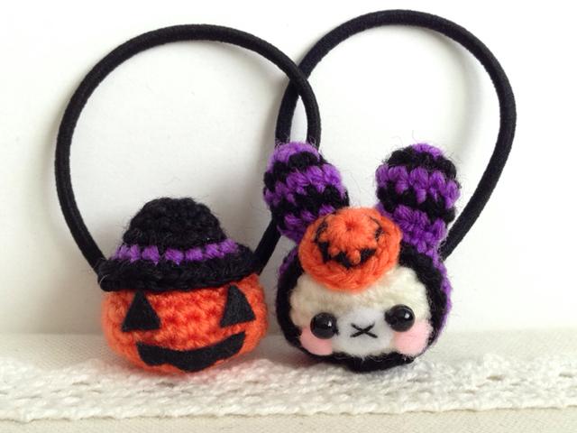 ハロウィン・あみぐるみ・ヘアゴム・おばけかぼちゃ・うさぎ・子ども用・秋