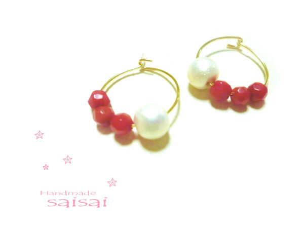 red coral cotton ピアス