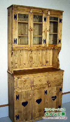 アンティーク風食器棚W90