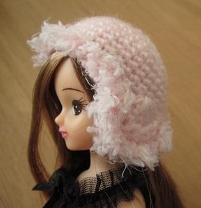 【帽コレ2015Autumn】ドール用のお帽子【シンプル耳あてつき×ベビーピンク+ボア】