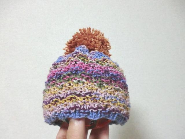 小さなベビーのポンポン付きカラフルニット帽子? 38cm