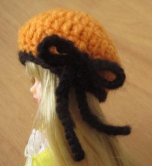 【帽コレ2015Autumn】ドール用のお帽子【ベレー×オレンジ&ブラック】