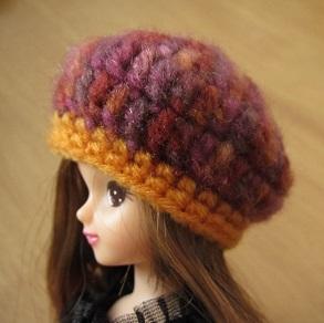 【帽コレ2015Autumn】ドール用のお帽子【ベレー×秋色オレンジ】