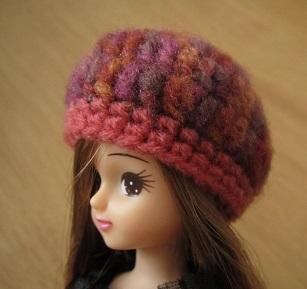 【帽コレ2015Autumn】ドール用のお帽子【ベレー×秋色ピンク】