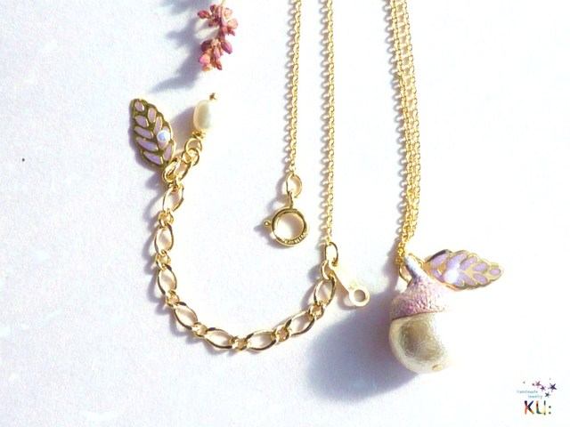 14KGF)どんぐりネックレス*Cotton Pearl*(白系)