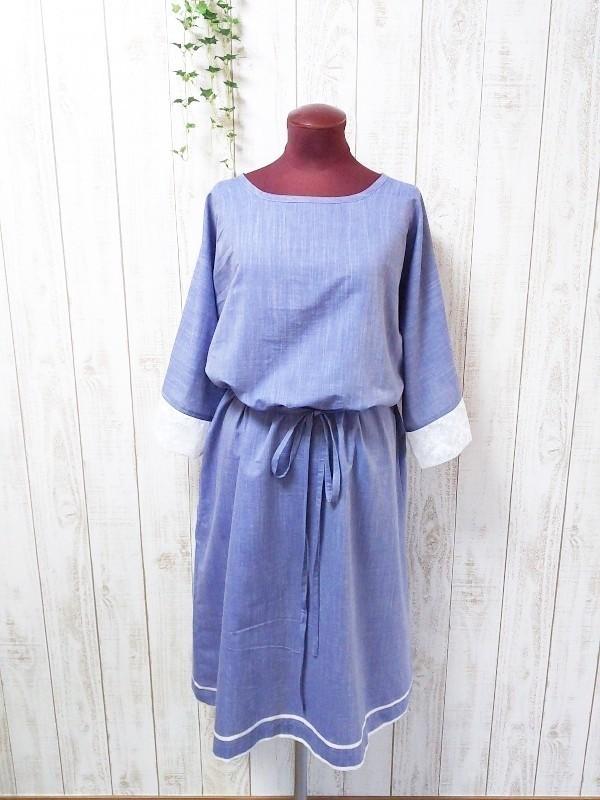 ☆ 裾ライン入り袖チュール刺繍ワンピ ☆