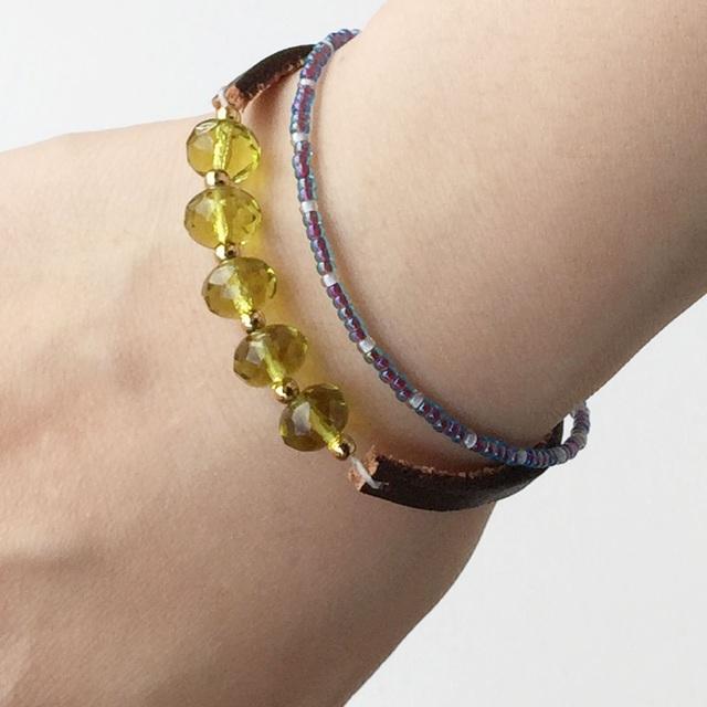 Glass stone Leather Bracelet ガラスビーズのレザーブレス ピンク
