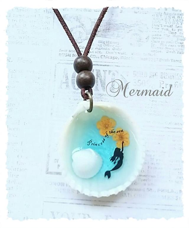 貝殻のマーメイドネックレス