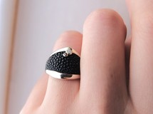 stingray 8 silver ring(stone)~エイ革 シルバーリング
