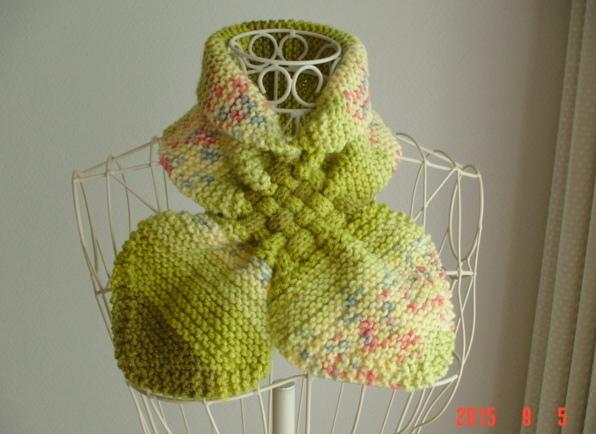 再販☆彡黄緑系のガーター編み&交差編みのCowl(段染めとぼかし)