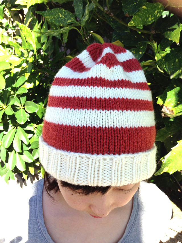 ウール100%ボーダーニット帽